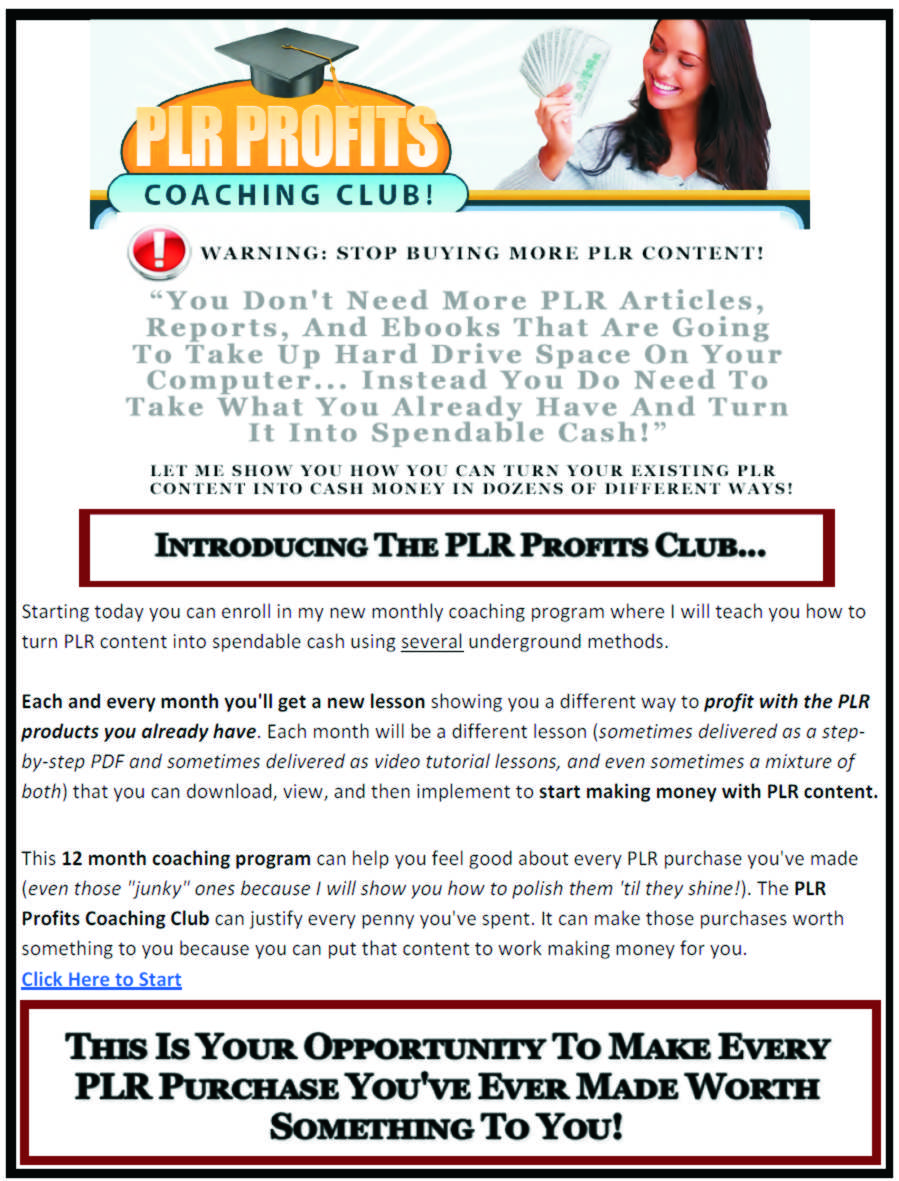 PLR Profits Coaching CLUB
